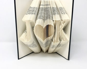 First Anniversary, Book Folding, Folded Book Art, Initials, Anniversary Gift, Personalized Gift, Custom, Wedding Gift, Birthday Gift