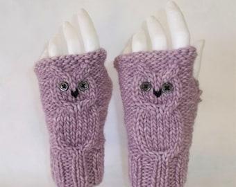 Wool mittens, Heather purple OWL pattern.