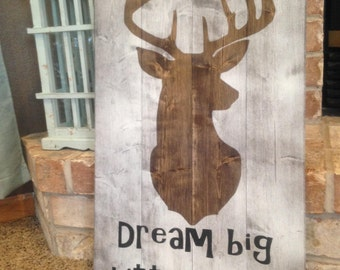 Deer Nursery Decor - Dream Big - Deer Nursery - Deer Silhouette