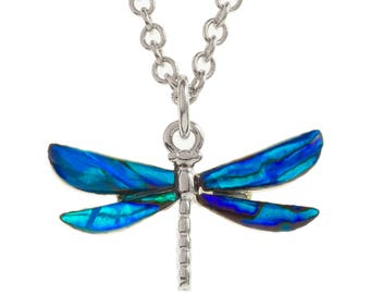 Blue Dragonfly Necklace Abalone Necklace Abalone Pendant Birthday Gift for Her Hypoallergenic Jewelry Abalone Jewellery Paua Shell Necklace