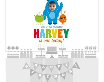 DIGITAL FILE Monsters Birthday Printable Banner Backdrop 60x40 inches, Monster Party Backdrop, Monsters Poster