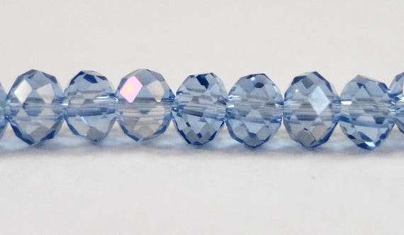 Crystal Rondelle Beads 4x3mm (3x4mm) Medium Blue AB Crystal Beads, Small Faceted Crystal Beads, Chinese Crystal Glass Beads, 100 Loose Beads