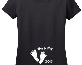 Due In Custom Month T-Shirt with Feet for Pregnancy Announcements, baby shower gift, New Mom, Customizable