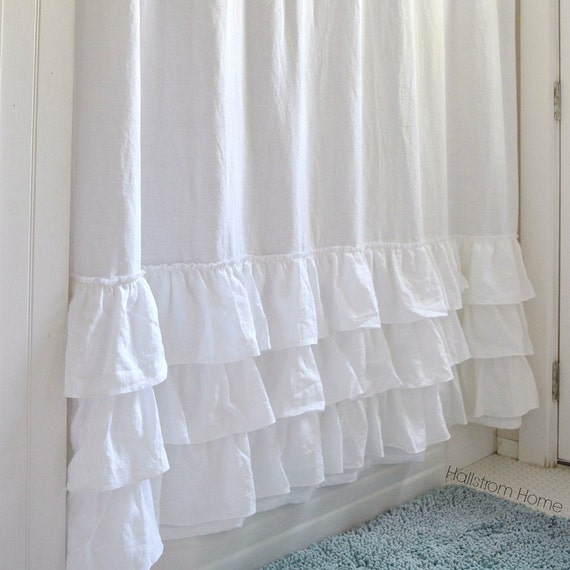 Three Ruffles Linen Shower Curtain White Shabby Chic Girls