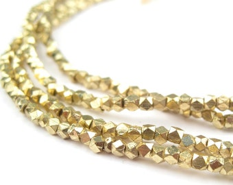 240 Tiny Diamond Cut Faceted Gold Color Beads 2mm - African Brass Beads - Jewelry Making Supplies - Made in  ** (FCT-USU-BRS-315)