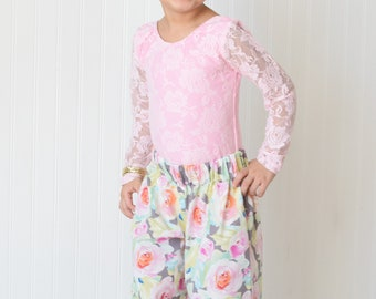 Watercolor Floral Wide Leg Pants Girls Pants Elastic Waist Handmade Pants