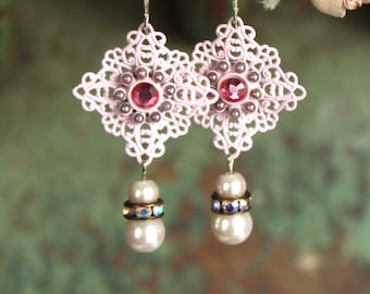 Pretty in pink Antique  Rhinestone assemblage earrings, vintage, jewelry, glass pearls, pink, up cycled, recycled,