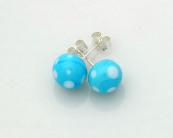 Murano glass turquoise earrings