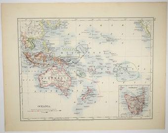 1895 AntiqueOceania Map Australia New Zealand Vintage Art Old Print