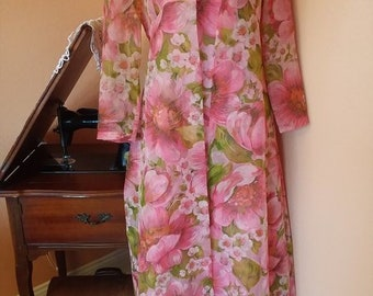 Vintage 1970s floral maxi dress with matching duster best fit a small / medium