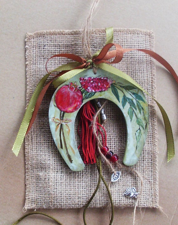 Lucky Horseshoe / Lucky Charm / Good Luck Charm / Pomegranate Decorated / Totally Handpainted