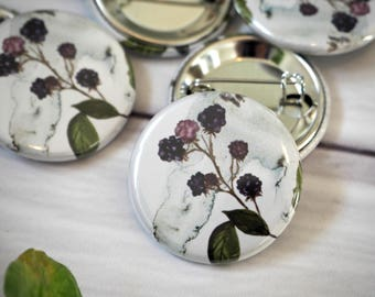 Watercolour Purple Flower Pin Button Badge Flora Woodland Inspired