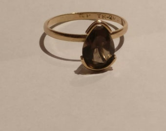 14k Gold and Smokey Topaz Ring