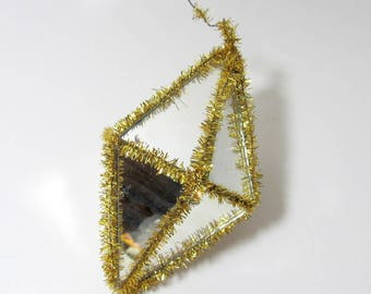 Vintage Mirrored Glass Ornament/ Vintage Gold Tinsel Ornament