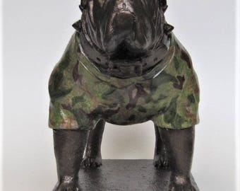 Godfather --- Bulldog Mascot Figurine with Camo Sweater
