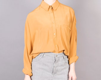 Golden silk poly combo blouse