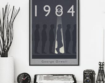1984 book cover print, poster, picture art - Minimalist design of Orwell's powerful and iconic book. Available in three sizes A3, A4 & A5.