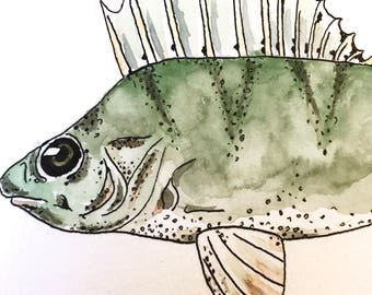 Perch - original watercolor and ink painting