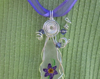 Painted Beach Glass necklace - purple