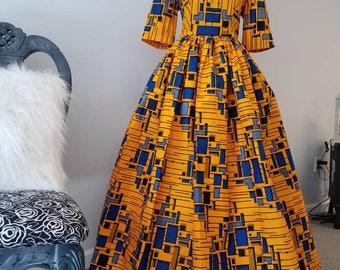 Elegant African Ankara Print Maxi Dress
