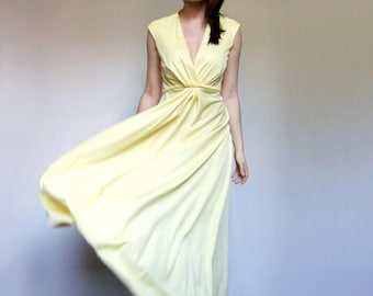 Long Yellow Dress Summer Maxi Dress Vintage Yellow Sundress 70s Boho Dress - Medium M