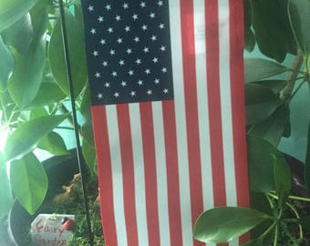"""Miniature Yard Flag with Stake Red/White/Blue - 8"""" x 4"""" mini garden flag, miniature flag for garden, potted plant flag graveside flag"""