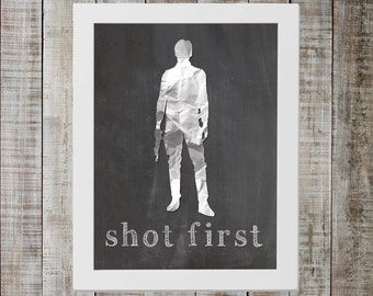 Han Solo Star Wars Print - 'shot first'