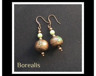Bohemian Pearl earrings Venetian glass beads