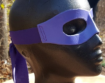 READY TO SHIP Purple Molded Leather Mask with Cloth Tie - Superhero Cosplay Pirate Comic Ninja Costume