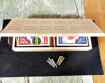 37. Handcrafted Cribbage Board / Card Storage Box