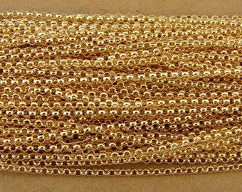 Chain - Gold Filled Chain -  1.4mm Rolo Chain By The Foot - Bulk Gold Filled Chain - Gold Chain - Jewelry Supplies - Findings - btfrgf