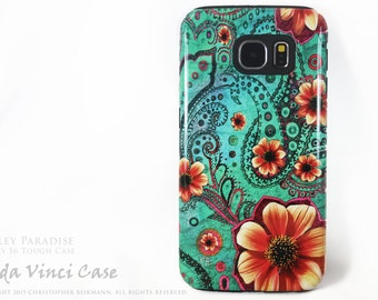 Paisley Paradise Galaxy S6 Case - TOUGH dual layer S 6 Case with Teal and Orange Paisley Floral Art