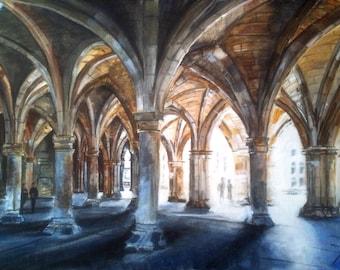 Glasgow University Cloisters Print (Small)  Scotland
