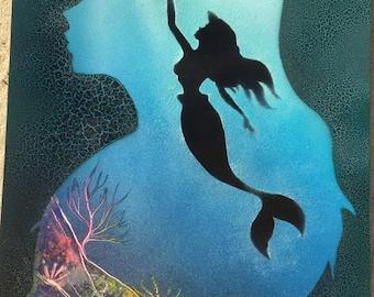 Disney Little Mermaid Ariel Spray Paint Art glow in the dark