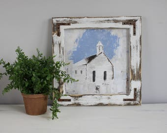 Farmhouse Style Decor, Abstract Art, Fine Art Print, Giclee Print, Rustic Print, Old Country Church