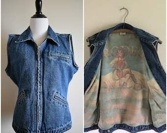 Vintage Denim Cowgirl Vest | Women's Medium/Large
