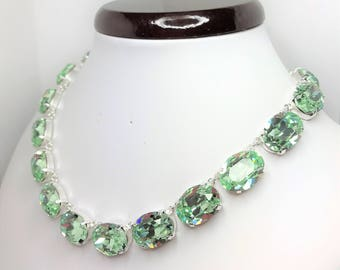 Green Chrysolite Swarovski Crystal Necklace Anna Wintour Style Necklace Georgian Collet Choker Pretty Designer Jewellery LynnsGemCreations