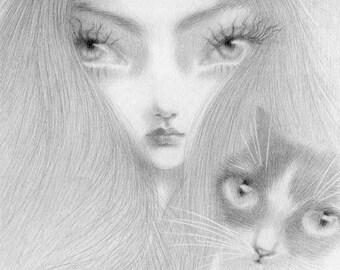Tuxedo Cat Art Print, big eye art, pop surrealism, big eye girl with cat, black cat art, tuxedo cat art, gothic art, goth art, gothic cat