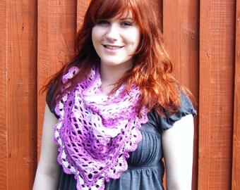 Triangular Shawl Lacy Summer Scarf Striped Dusky Pink Crochet