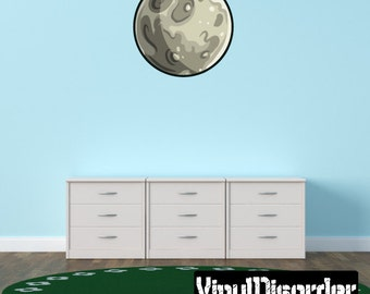 Earth Moon Wall Decal - Wall Fabric - Vinyl Decal - Removable and Reusable - AstronautsUScolor003