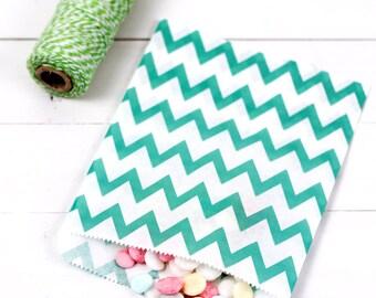 Sage chevron paper bags (20)