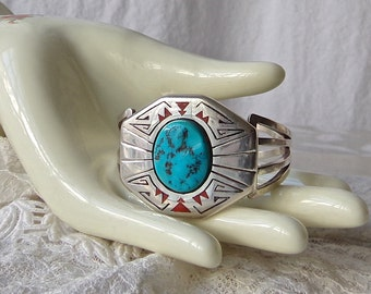 Turquoise Cuff Bracelet Sterling Silver Native American Navajo Signed Vintage 1970s Free Shipping