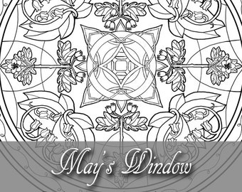 Printable Coloring Book Page for Adults - May Birthstone Birth Flower Hawthorn and Lily of the Valley Window in Art Nouveau Style Line Art