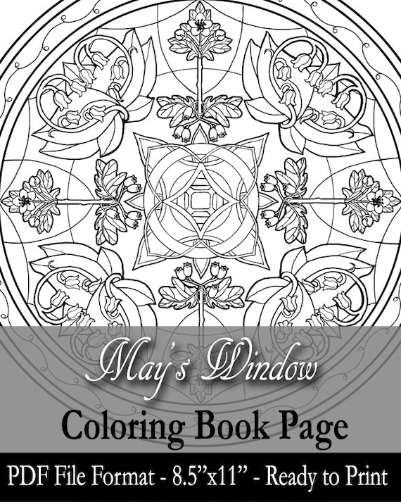 Printable Coloring Book Page For Adults May Birthstone Birth