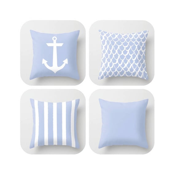 Periwinkle Throw Pillow . Mermaid Pillow . Anchor Pillow . Coastal Pillow . Striped Pillow . Cushion . Blue Throw Pillow 14 16 18 20 inch