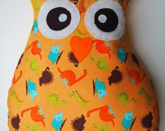 Large pillow approx 39x43cm shape orange OWL-OWL cotton with dinosaurs