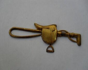 1 Vintage Brass  Saddle and Riding Stick  ...  B - 1