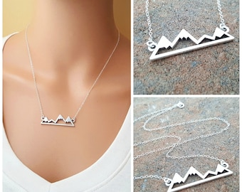 Mountain Bar Necklace - Mountain Skyline Sterling Silver Necklace - Dainty Simple Everyday Jewelry - Gift for Her