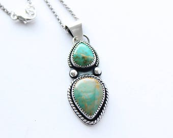 Kingman Turquoise Pendant Necklace // Sterling Silver // Large