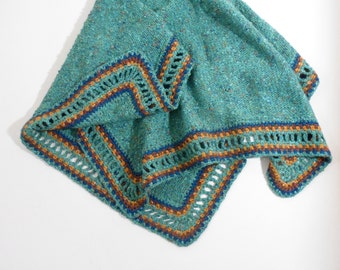 Knitted Baby Blanket - Teal